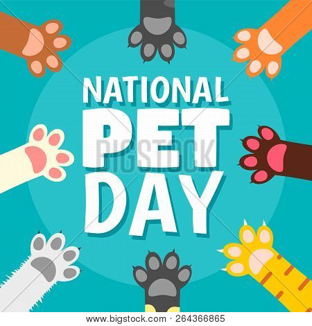 National Pet Day Paw Concept Background. Flat Illustration Of National Pet Day Paw Vector Concept Ba
