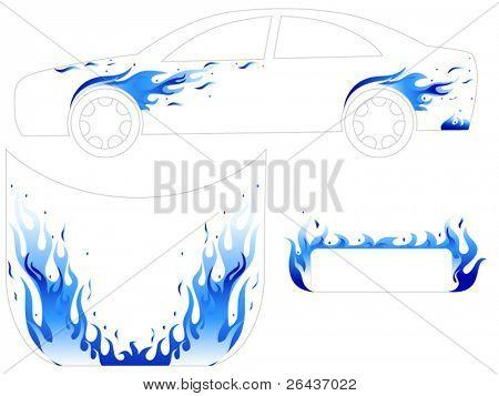 Blue fire car tattoo