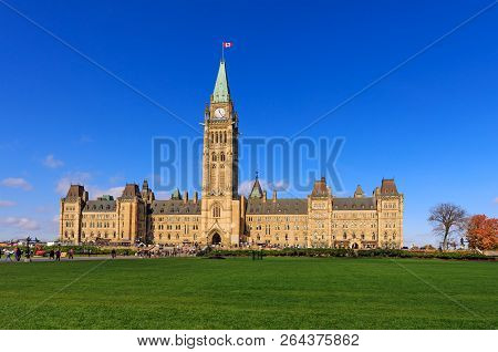 Ottawa, Canada, October 10, 2018. Parliament Hill, Ottawa, Canada, The Center Block And The Peace To