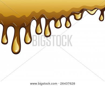 Milk chocolate flowing drops