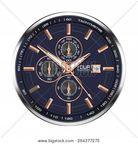 Realistic Face Watch Clock Chronograph Stainless Steel Copper On White Background Luxury Vector Illu