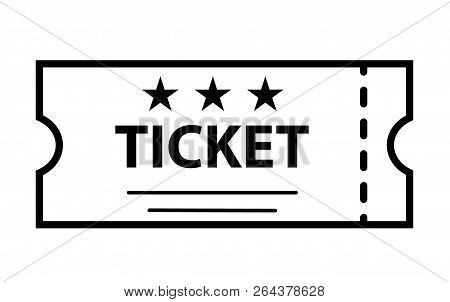 Outline Ticket Icon On White Background. Ticket Sign. Flat Style. Cinema Symbol. Ticket Icon For You