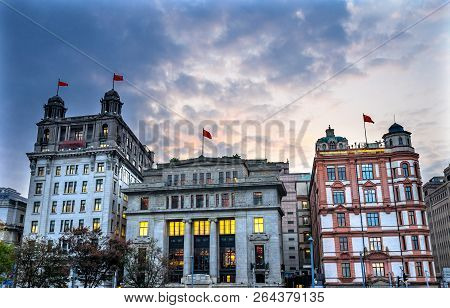 Shanghai, China - November 16, 2017 Bund Buildings Evening Shanghai China  One Of The Most Famous Pl