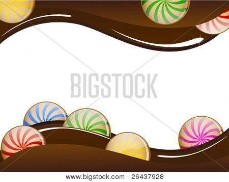 Chocolate card with colorful candies bar