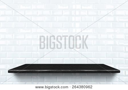 Empty Black Marble Shelf At White Ceramic Tile Wall Pattern Background,mock Up For Display Or Montag