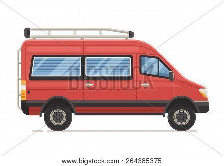 Retro Rv Minivan In Flat Design. Family Van Icon. Old Red Microbus For Road Travel. Cartoon Voyage C