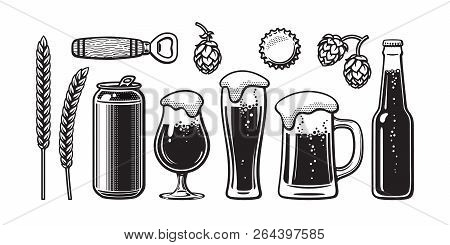 Vintage Beer Set. Barley, Wheat, Can, Glass, Mug, Bottle, Opener, Hop, Bottle Cap. Vector Illustrati