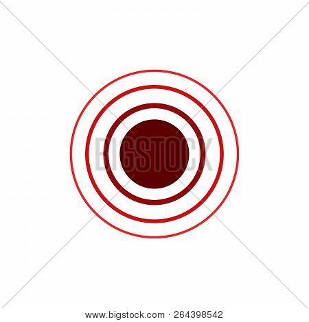 Red Concentric Rings. Epicenter Theme. Simple Flat Vector Illustration Isolated On White Background.