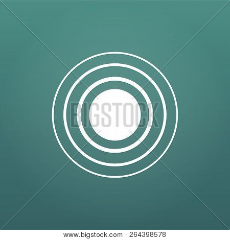 White Concentric Rings. Epicenter Theme. Simple Flat Vector Illustration Isolated On Modern Backgrou