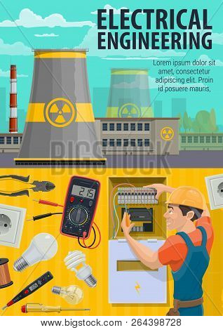 Electrician Engineer At Work, Electricity Professional Equipment. Vector Electrician, Nuclear Power