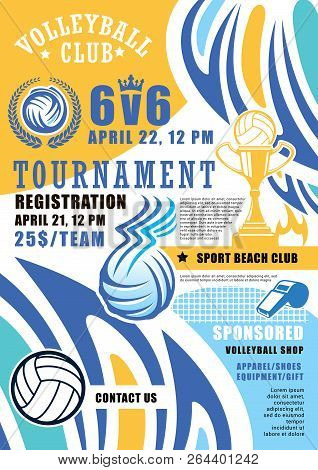 Volleyball Game Tournament Poster. Vector Volleyball Ball And Victory Cup With Wings And Fire Flame