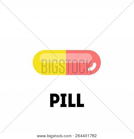 Flat Vector Pill Or Vitamin On White Background