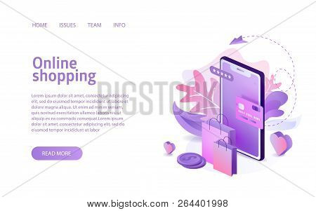 Isometric Online Shopping Concept Business Marketing Layout For Website Landing Header