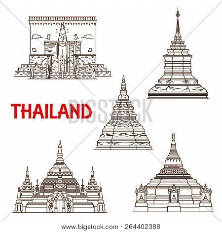Thailand Buddhist Landmarks Vector Icons. Temples Facades Of Wat Phra That Chomthong In Phayao, Ched