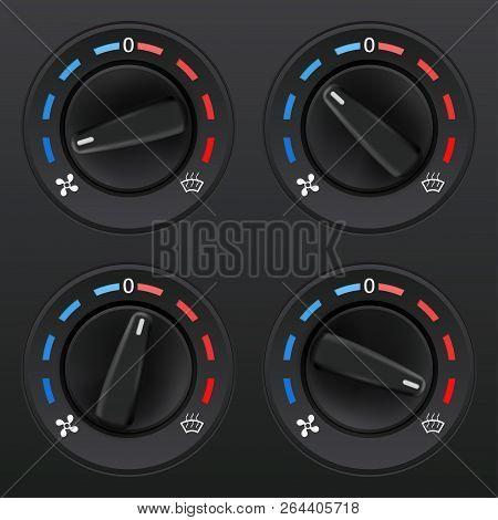 Car Dashboard Knob Switch Set. Auto Air Conditioner. Temperature Selectors. Vector 3d Illustration