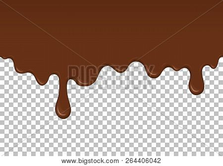 Brown Dripping Slime Seamless Pattern. Chocolate Background With Copy Space. Realistic Sweet Cream I