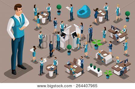 Isometry Set 6, Bank Icons With Bank Employees, Men Bank Employee, Customer Service Manager. Financi