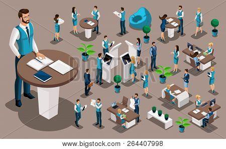 Isometry Set 5, Bank Icons With Bank Employees, Men Bank Employee, Customer Service Manager. Financi