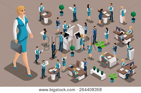 Isometric Set 2, Bank Icons With Bank Employees, Woman Bank Worker, Customer Service Manager. Financ