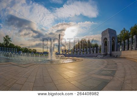 Washington Dc, Usa - August 31, 2018: World War Two Memorial. Close Up Detail Of Architecture To Thi