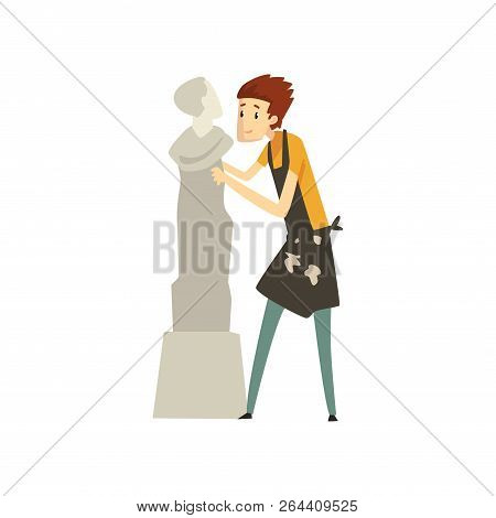 Male Sculptor Chiselling A Marble Statue, Talented Carver Character, Creative Artistic Hobby Or Prof