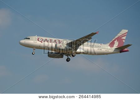 BUDAPEST, HUNGARY - SEPTEMBER 7, 2015: Qatar Airways A320 airliner taking off at Budapest Liszt Ferenc Airport.