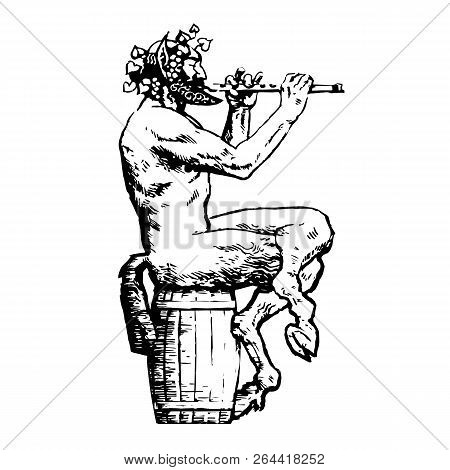 Satyr Sitting On Wooden Barrel And Playing Flute. Design Elements For Wine List, Menu Card, Tattoo,