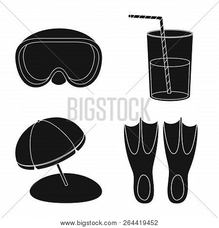 Vector Design Of Equipment And Swimming Sign. Collection Of Equipment And Activity Stock Vector Illu