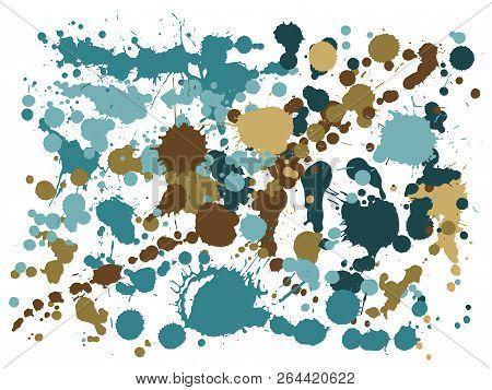 Watercolor Paint Stains Grunge Background Vector. Hipster Ink Splatter, Spray Blots, Dirt Spot Eleme