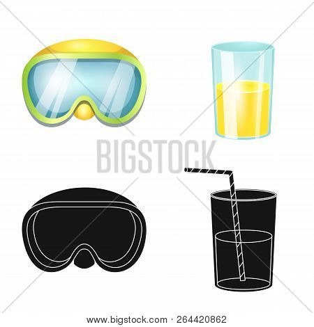 Vector Design Of Equipment And Swimming Symbol. Collection Of Equipment And Activity Stock Vector Il