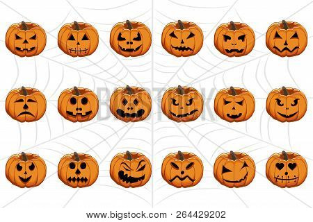 Vector Illustration Set From Pumpkins For Celebrating Holiday Halloween. Halloween Pattern Consistin