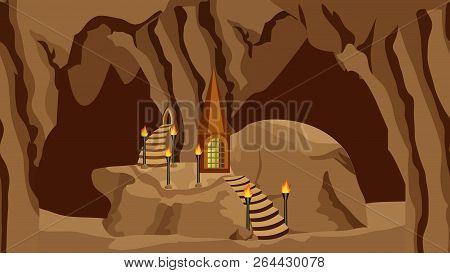 Underground Cave Landscape. Background For Cartoon Or Adventure Fantasy Game Asset For Level Design.