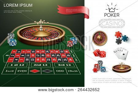 Realistic Casino Colorful Concept With Roulette Game Table Poker Playing Cards Chips And Dices Vecto