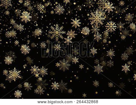 Falling Gold Snowflakes. Golden Snowfall. New Year And Christmas Pattern With Golden Snowflakes On B