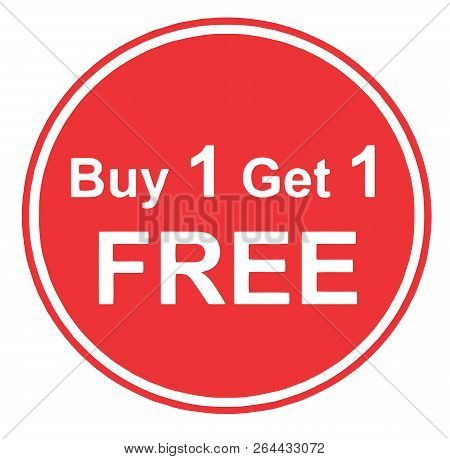 Discounts Buy One Get One  Free Promotion Red Illustration