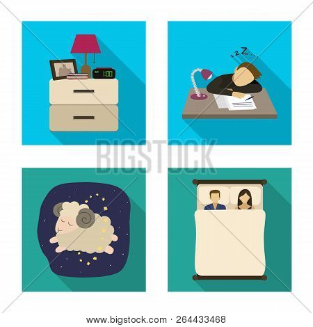 Vector Design Of Dreams And Night Sign. Collection Of Dreams And Bedroom Vector Icon For Stock.