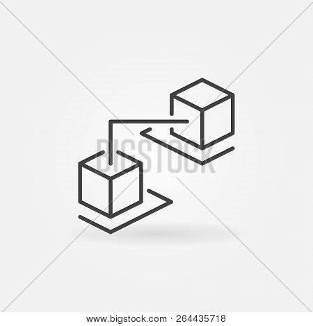 Blockchain Cubes Concept Outline Icon. Blockchain Technology Vector Sign In Thin Line Style