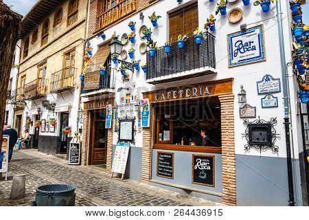 Granada, Spain, April 06, 2018: Street View Of The Historic District Of Albaicin In Granada, Andalus