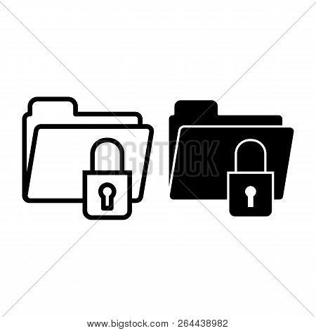 Lock Folder Line And Glyph Icon. Padlock On Folder Vector Illustration Isolated On White. Locked Fol