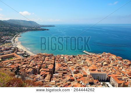 Aerial View Of Cefalu Old Town With Beautiful Beach And Mediterranean Sea, Sicily, Italy