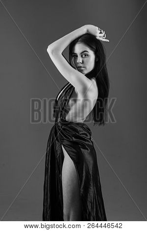 Lady, Sexy Girl In Dress. Fashion And Vogue Concept. Woman In Elegant Black Long Evening Dress With