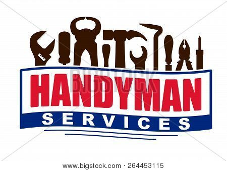 Handyman Services Vector Design For Your Logo Or Emblem In Shape Of Waving Banner With Set Of Worker