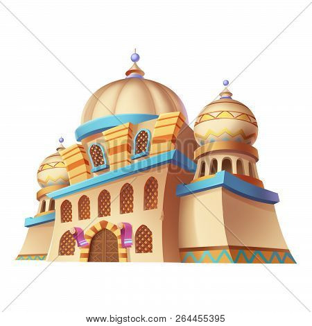 Desert Emirates Palaces, Arabian Architecture. Game Assets, Card Object, Buildings Isolated On Black