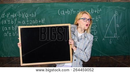 School Schedule And Extra Classes. Teacher Woman Hold Blackboard Blank Advertisement Copy Space. Sch