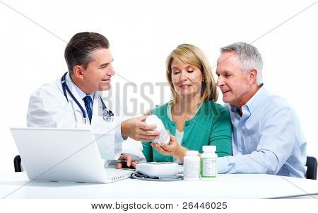 Medical doctor and elderly couple patient. Isolated on white background. Health care.