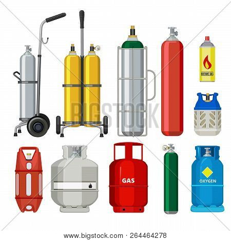 Gas Cylinders. Butane Helium Acetylene Propane Metal Tank Cylinder Petroleum Station Tools Vector Il