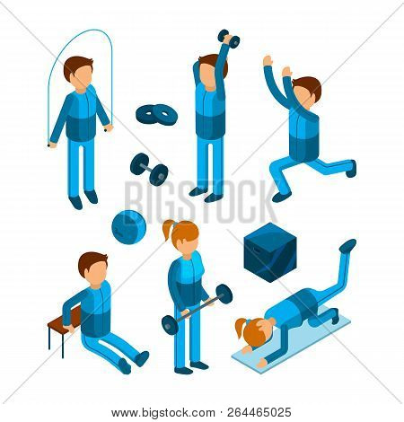 Gym People Isometric. Fitness Sport Characters Workout Exercises Body Pump And Strength Vector 3d Lo