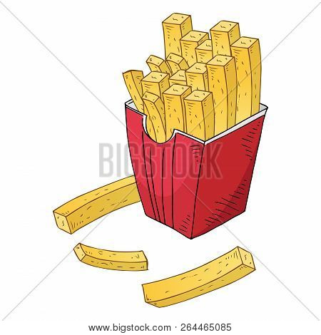 French Fries Icon. Vector Of Fast Food French Fries. Hand Drawn French Fries.