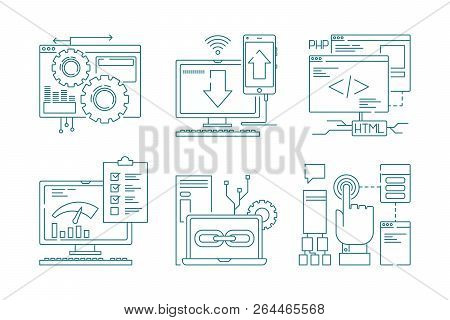 Web Development Line Icons. Seo Mobile Layout Web Design Creative Process Code Website And App For S