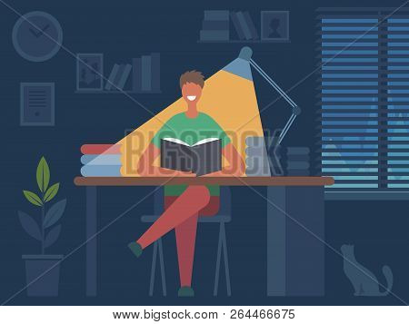 Reading Book Hobbies. Man Sitting At Table And Reading Magazine In Dark Room Interior Vector Flat Ch